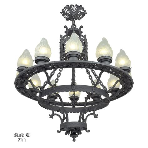Wrought Iron Ceiling Light Fixtures Large 12 Light Chandelier Antique Cast Wrought Iron Ceiling Fixture Ant 711 For Sale