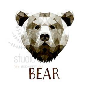 geometric bear head drawing