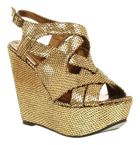 gold high heel wedges womens office wind up gold metallic snake platform high