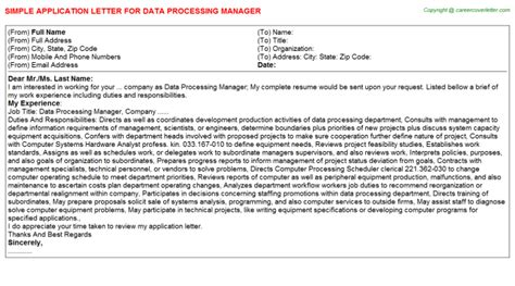 Data Processing Manager Cover Letter by Data Processing Manager Application Letter Sle