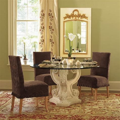 Traditional Glass Dining Table Acanthus Base With 48 Inch Diam Glass Top Traditional Dining Tables By Ballard Designs