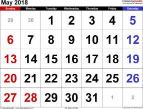 Calendar 2018 May May 2018 Calendars For Word Excel Pdf