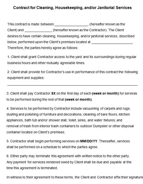 janitorial service contract template 22 cleaning contract template word docs pages free