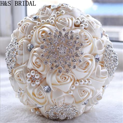 Wedding Bouquet Artificial by Ivory White Bridal Wedding Bouquet De Mariage Pearls