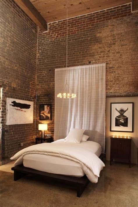 modern bedroom designs  exposed brick walls rilane