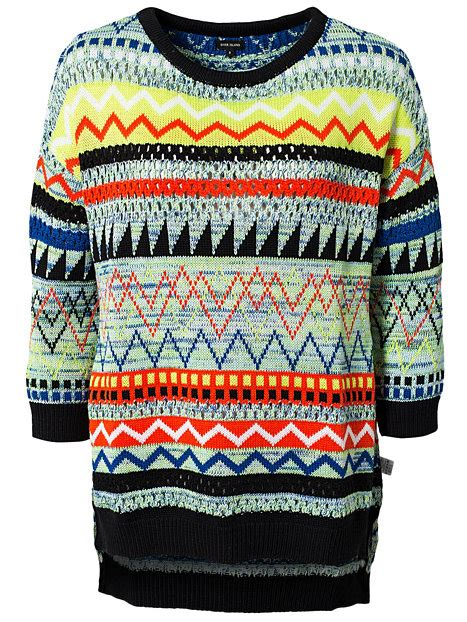 womens patterned jumpers tribal pattern jumper river island black patterned