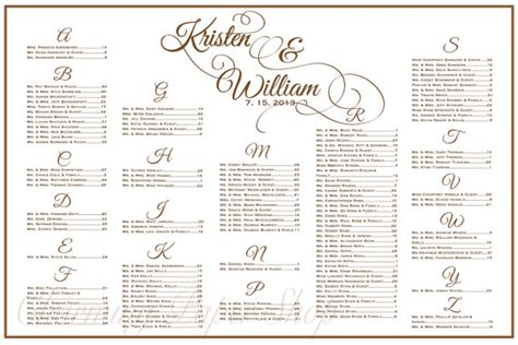 Wedding Seating Chart Table Seating Assignments Reception Guest Seating Chart Template