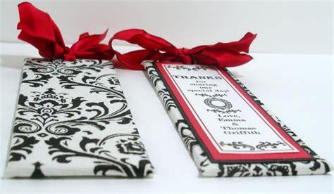 handmade wedding bookmarker favors black white red