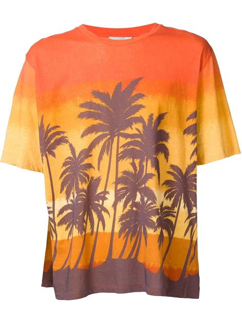 Tshirt Printing Small Palm laurent palm tree print t shirt in orange for lyst
