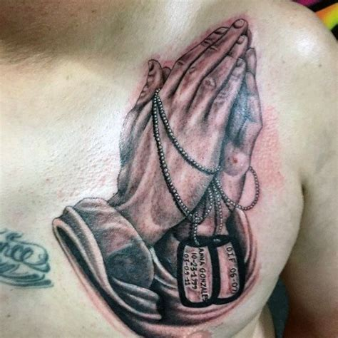 praying hands tattoo on chest 30 tag tattoos for masculine design ideas