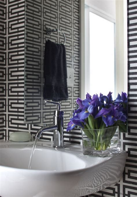 black and silver bathroom wallpaper black and silver wallpaper contemporary bathroom denman bennett