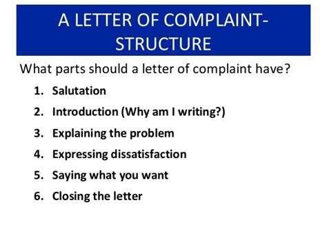 Complaint Letter Parts How To Write A Letter Of Complaint