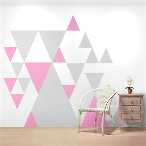 geometric pattern on wall geometric pattern giant wall sticker set by oakdene