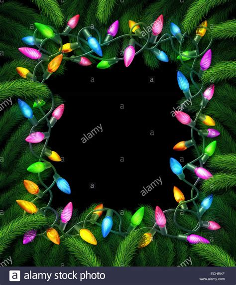 holiday lights frame and new year christmas decoration on