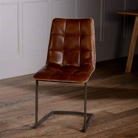 vintage italian leather dining chair with metal legs by