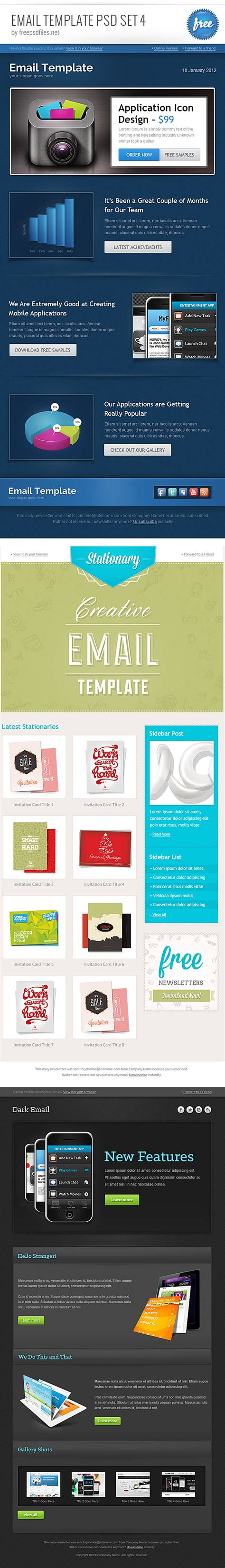 email template psd set psd files