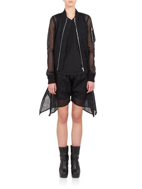 8 Coats By Tulle Clothing by Lyst Rick Owens Embroidered Tulle Bomber Jacket In Black
