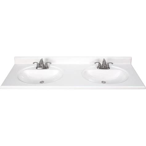Bathroom Vanities With Sinks And Tops Shop White Cultured Marble Integral Sink Bathroom Vanity Top Common 61 In X 22 In