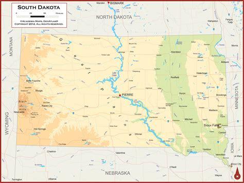 physical map of dakota south dakota physical state map