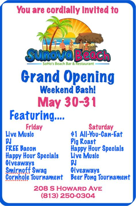 3 New Opening On Weekend by Grand Opening Weekend Bash At Sunova Ta Fl May