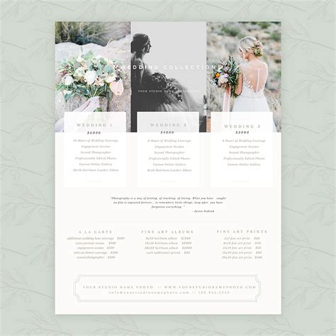 Delicate Wedding 8 5 215 11 Pricing Guide Oh Snap Boutique Wedding Pricing Template