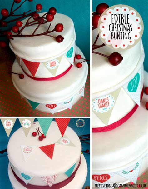Christmas Ideas For Her christmas cake bunting edible gift shop personalised