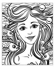 Mermaid Coloring Pages For Adults by Water Worlds Coloring Pages For Adults Coloring
