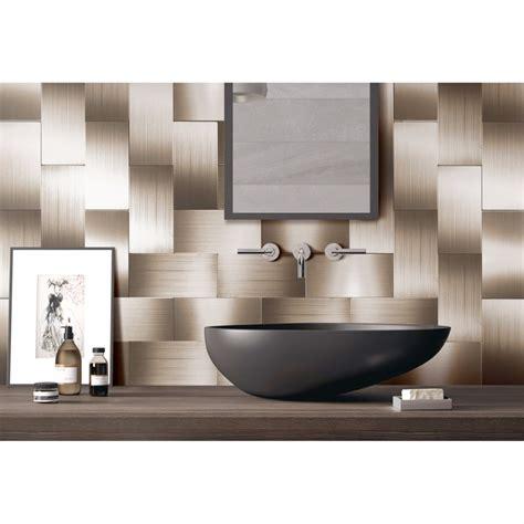 peel stick metal tiles for kitchen backsplashes copper 32 pieces peel and stick backsplash 3in x 6in brushed