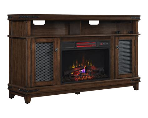 infrared fireplace tv stand marion infrared electric fireplace tv stand in brown