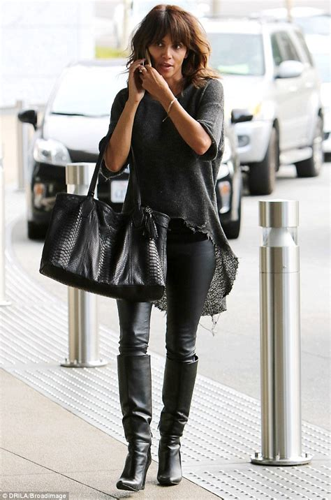 Name Halle Berrys Black Handbag by Halle Berry Resembles Dc Comics In Leather On