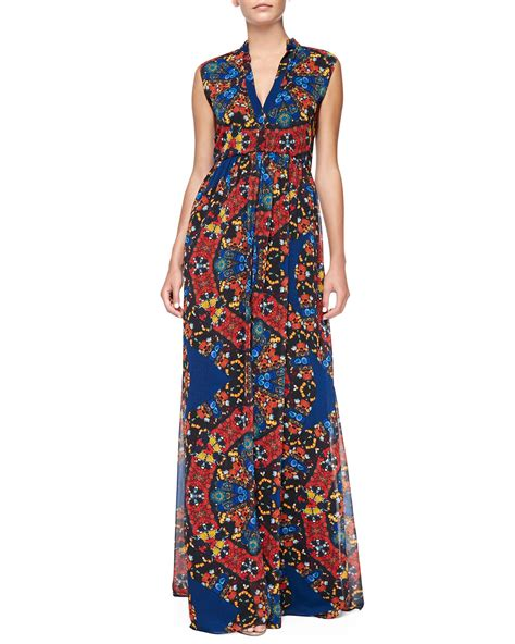 Maxi Button marianna printed button front maxi dress in multicolor crown lyst