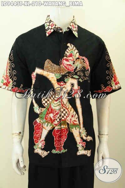 Jual Batik Semata Wayang jual baju batik pria modern 2017 hem batik lengan pendek motif wayang bima proses tulis bisa