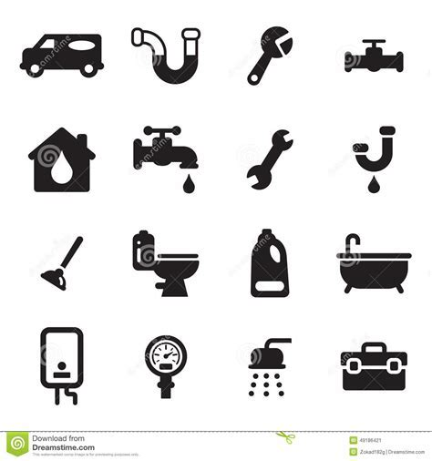 Plumbing Icons Stock Vector   Image: 49186421