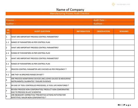 production checklist template manufacturing process audit checklist format exles