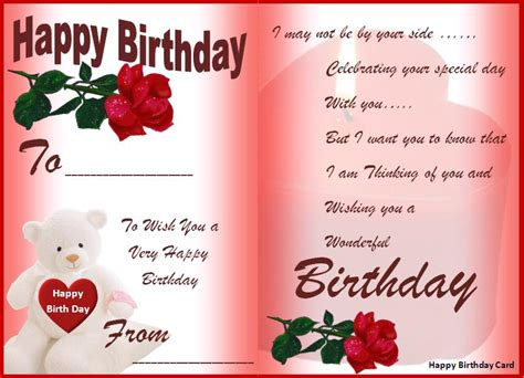 Words For A Birthday Card Happy Birthday Card Template Free Formats Excel Word