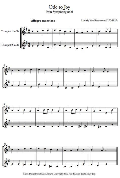 song duet beethoven ode to sheet for trumpet duet