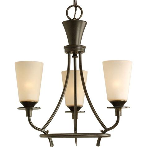 progress lighting cantata collection 3 light forged bronze chandelier with seeded topaz glass