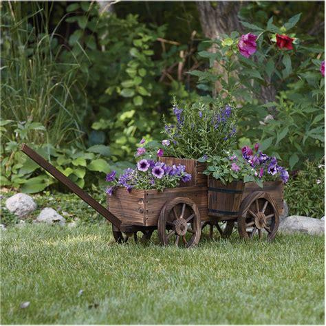 Stonegate Designs 2 Tiered Wooden Wagon Planter Model T Wagon Wheel Planter