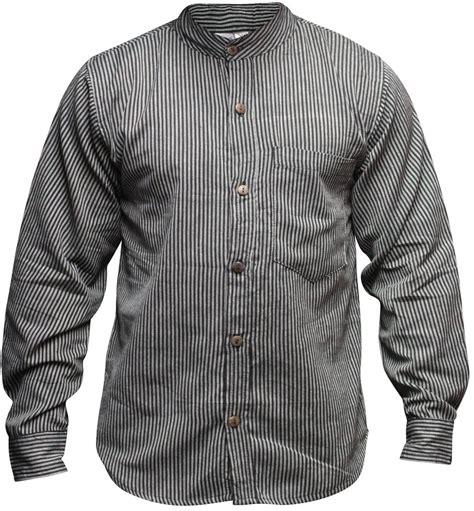 Sleeve Stripe Casual Shirt mens collarless grandad shirt sleeve summer stripe