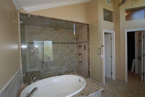 Jet Shower Shower Closet steam shower w oval spa tub w coffee bar walk in closet traditional bathroom orange