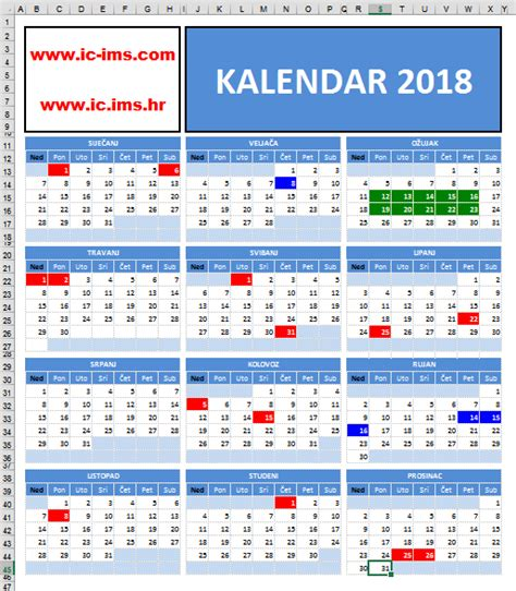 Kalendar S Blagdanima 2018 Kalendar 2018 S Državnim Praznicima Blagdanima I Neradnim