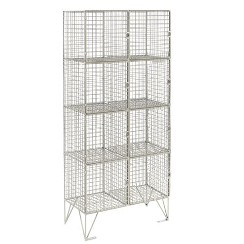 wire mesh locker with 8 compartments shelving industrial