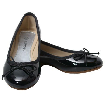 L Dress Shoes by L Amour Black Patent Slip On Bow Flat Dress Shoes Toddler 7 10 Walmart
