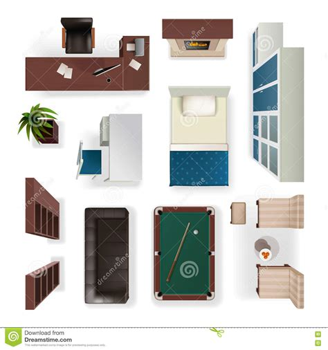 Office Floor Plan Icons modern interior elements realistic top view stock vector