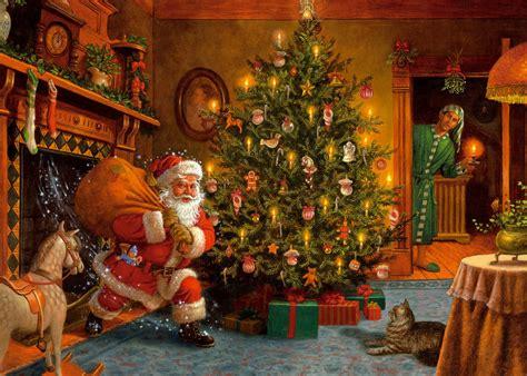 christmas wallpaper living room christmas eve night wallpaper and background image