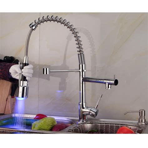 led kitchen faucets contemporary single handle chrome finish pull out spray