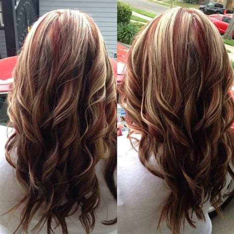 medium hairstyles with partial highlights blonde hair with red highlights like this one hair
