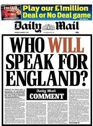 19 may 2016 news archive daily mail online daily mail comment asks who will speak for england
