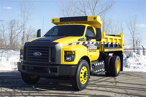 tonka truck mighty ford f 750 tonka dump truck is ready for work or