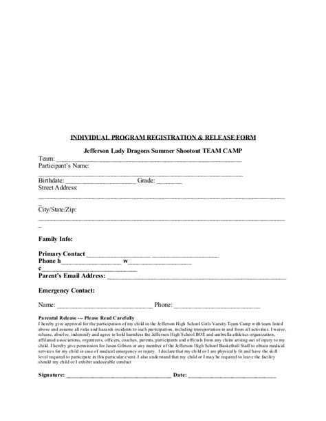 2015 Jhs Team C Registration And Waiver Form Edited For Website Summer C Release Form Template